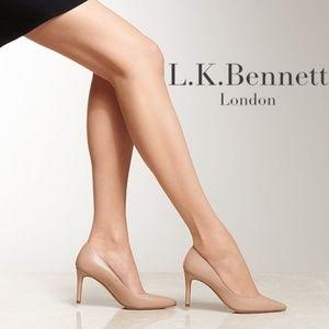 L.K. Bennett Nude Leather Heel Pumps Pointed Toe